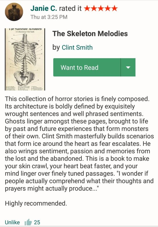 Goodreads review, Janie C -- The Skeleton Melodies
